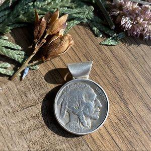 Artisan made pendant with 1928 Silver Buffalo Coin